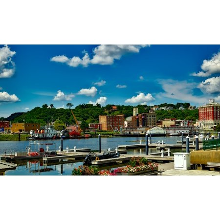 LAMINATED POSTER Iowa City Dock Waterfront Dubuque Urban Buildings Poster Print 24 x - Party City Dubuque Iowa