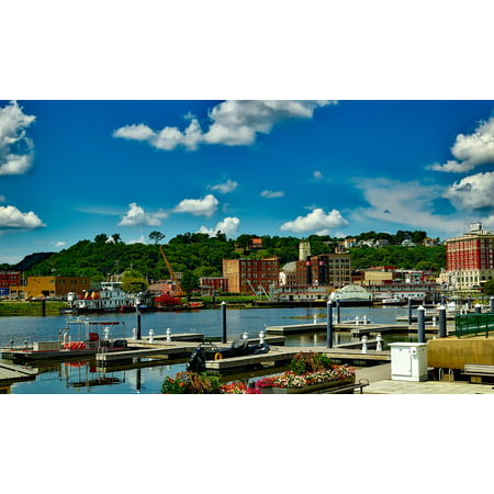 LAMINATED POSTER Iowa City Dock Waterfront Dubuque Urban Buildings Poster Print 24 x 36 ()