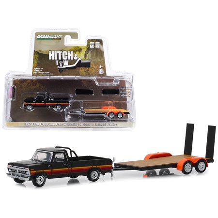 1977 Ford F-100 Pickup Truck Black w/Free Wheeling Stripes & Flatbed Trailer 1/64 Diecast Model Car by Greenlight (Wheeling Truck Center)
