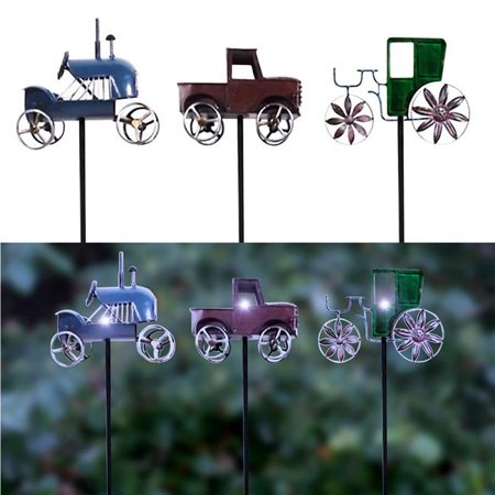 Alpine 8015852 Assorted Color Farm Truck Solar Garden Stake - Pack of 6