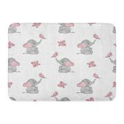 GODPOK Watercolor Pink Cartoon with Cute Elephants and Butterflies Design Baby Gray Drawing Animals Rug Doormat Bath Mat 23.6x15.7 inch