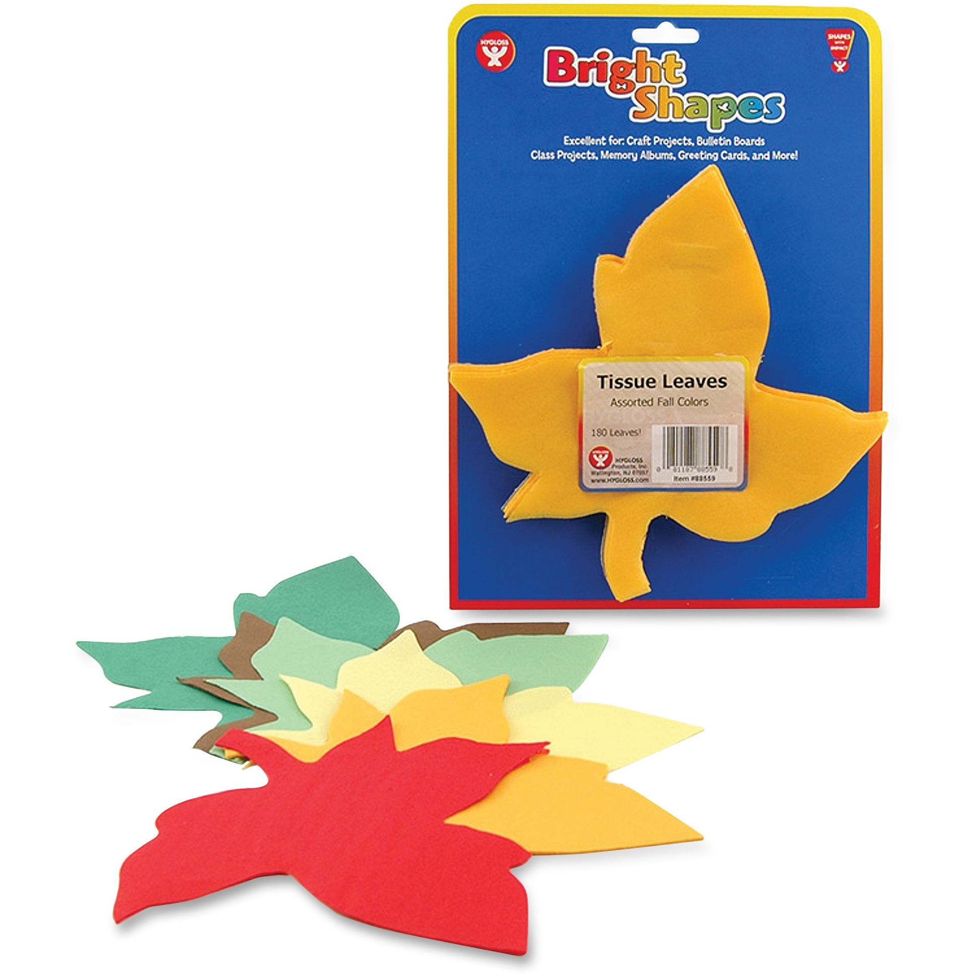 Hygloss, HYX88559, Bright Shapes Color Tissue Leaves, 20 / Pack, Assorted