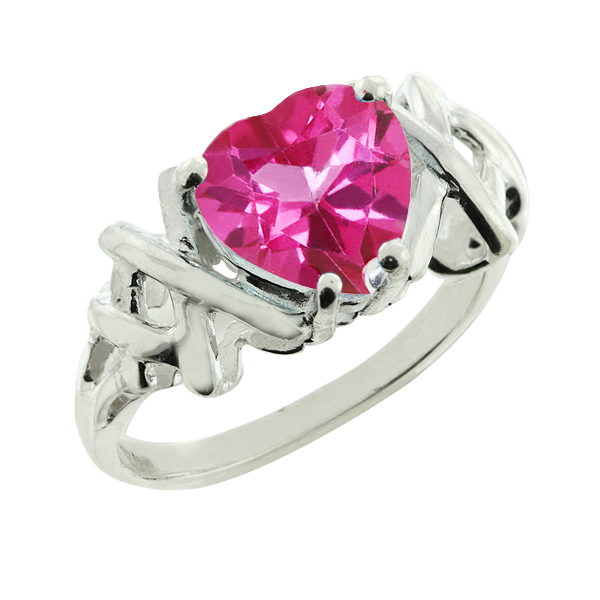 1.50 Ct Pink Topaz Sterling Silver Heart Shape Ring 7MM