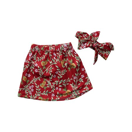 - StylesILove Baby Girl Cute and Soft Floral Skirt and Headband 2-PC Set (110/3-4 Years, Burgundy)