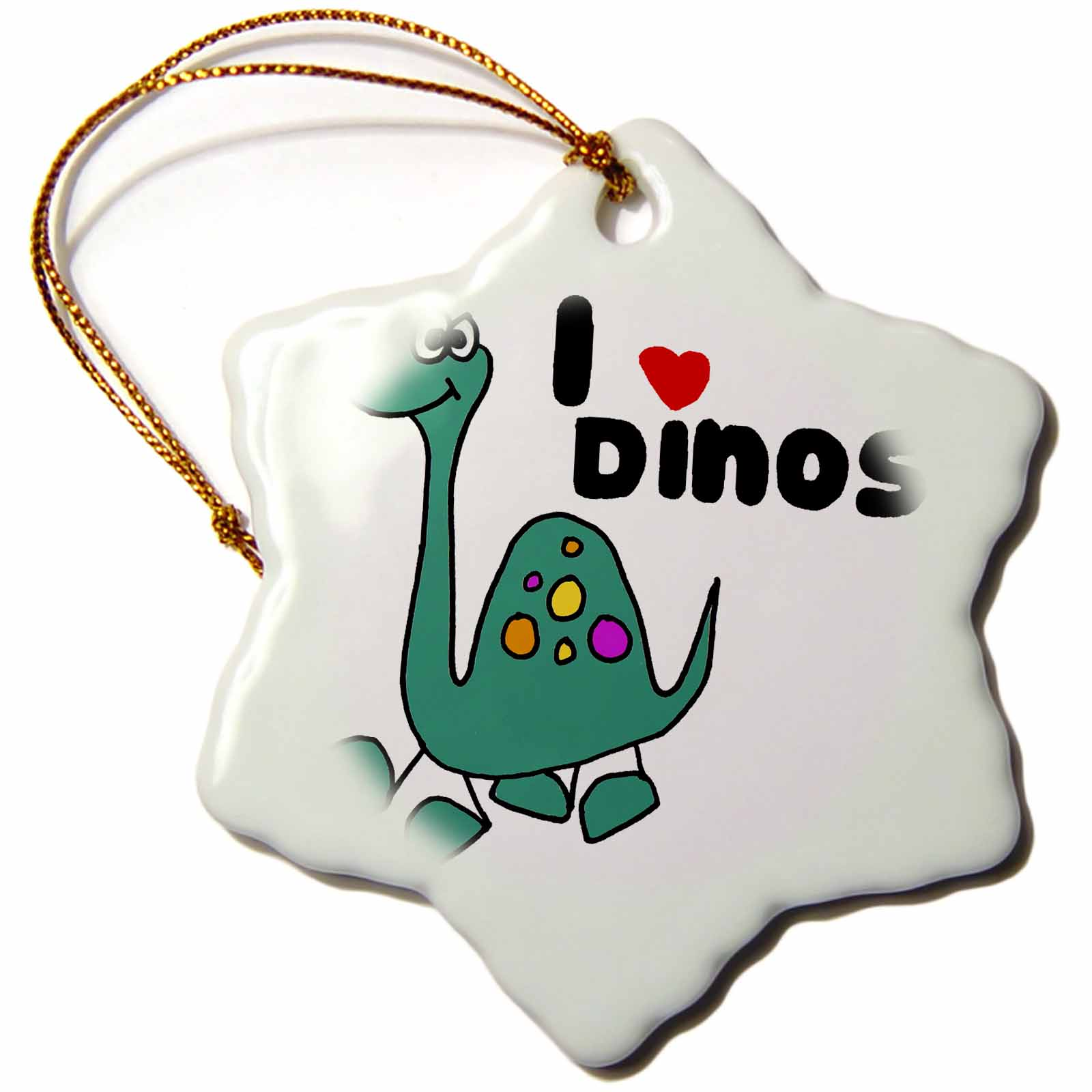 3dRose Cute I love Dinosaurs Design with Brontosaurus Cartoon, Snowflake Ornament, Porcelain, 3-inch
