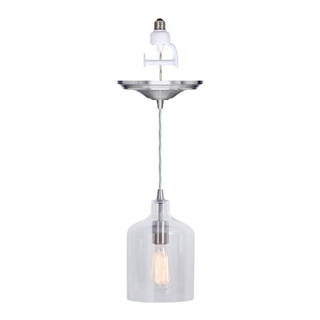 Instant Pendant Recessed Light Conversion Kit Brushed Nickel Transitional Clear Bell Glass (Clear Glass Pendant Lights For Kitchen Island)