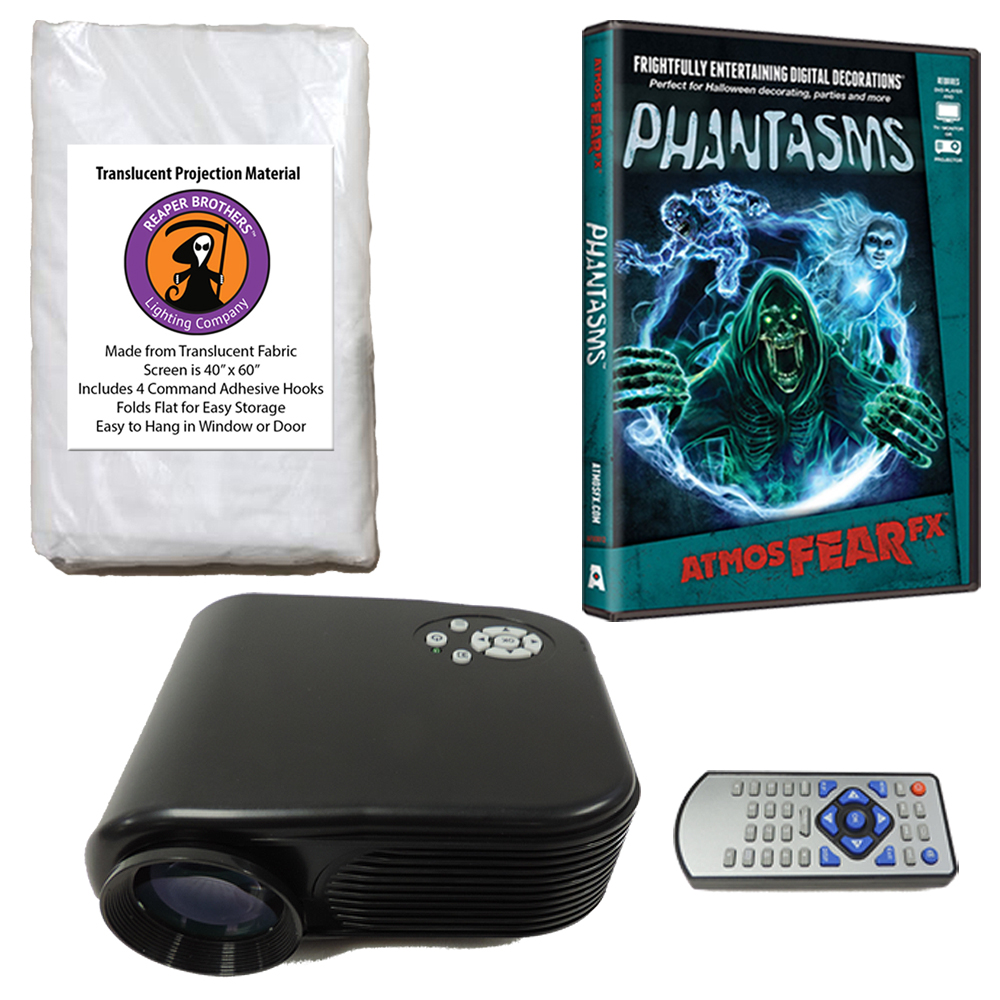 Halloween Digital Decoration Kit includes 800 x 480 Resolution Projector, Reaper Brothers High Resolution Window Rear Projection Screen and AtmosFearFX Phantasms DVD