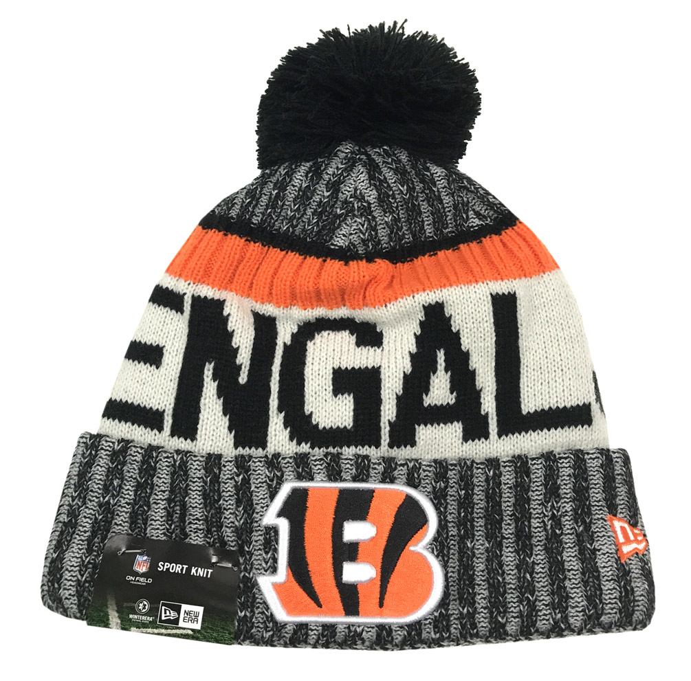 New Era Cinncinnati Bengals Knit Beanie Cap Hat NFL On Field Sideline 11460403 by New Era