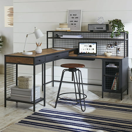 Better Homes & Gardens Lindon Place L-Shaped Desk with Cage, Vintage Oak Finish Better Homes And Gardens Deck