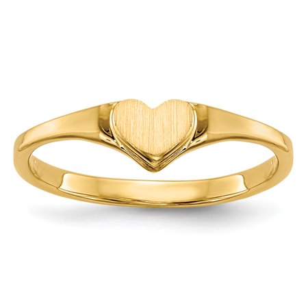 Childrens Heart Ring (14k Yellow Gold Childrens Heart Band Ring Size 3.00 Baby Gifts For Women For)
