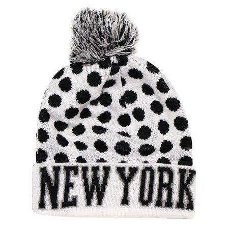 City Hunter Sk1150 New York Dots Knit Beanie Hats (White/black)