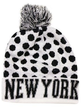 55f01807bb4 Product Image City Hunter Sk1150 New York Dots Knit Beanie Hats (White black )