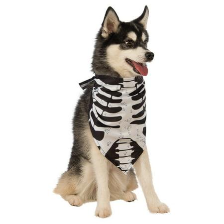 Dog Bandana Pet Costume Accessory Skeleton - Medium/Large - Skeleton Dog Costume