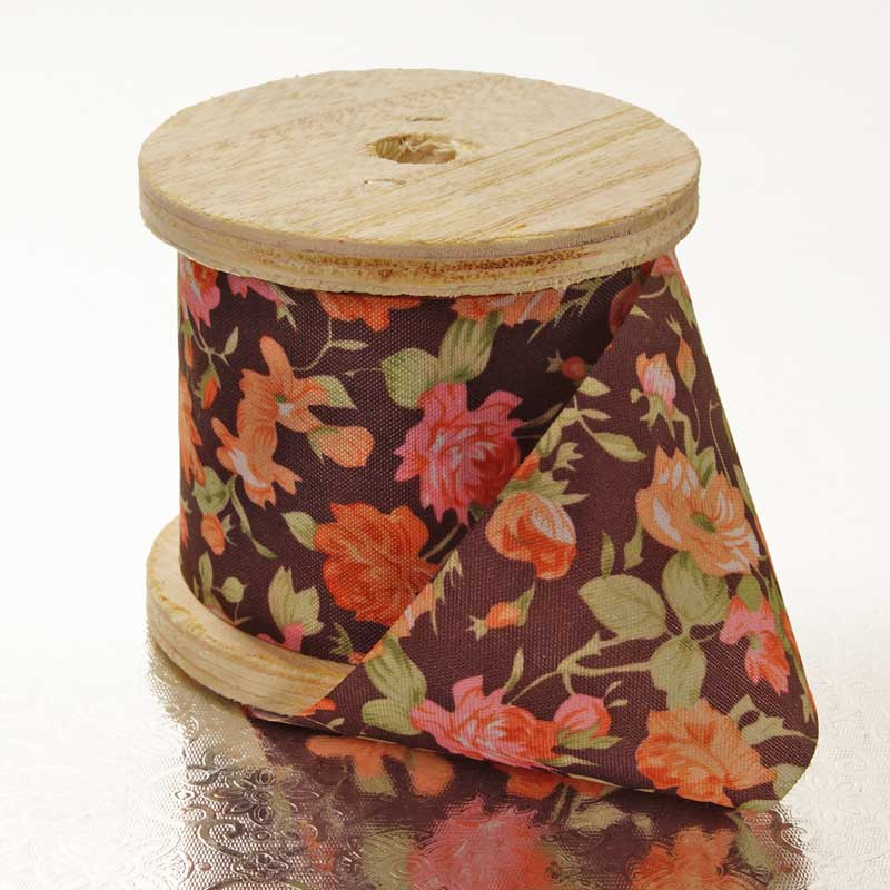 2 X 10 Yards Classic Rose Brown Floral Ribbon  by Paper Mart