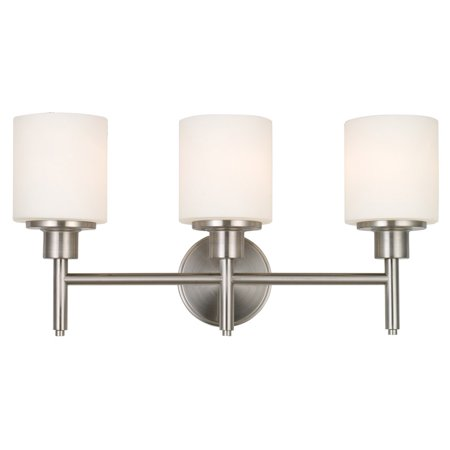 Design House 556209 Aubrey 3-Light Vanity Light, Frosted Glass, Satin Nickel