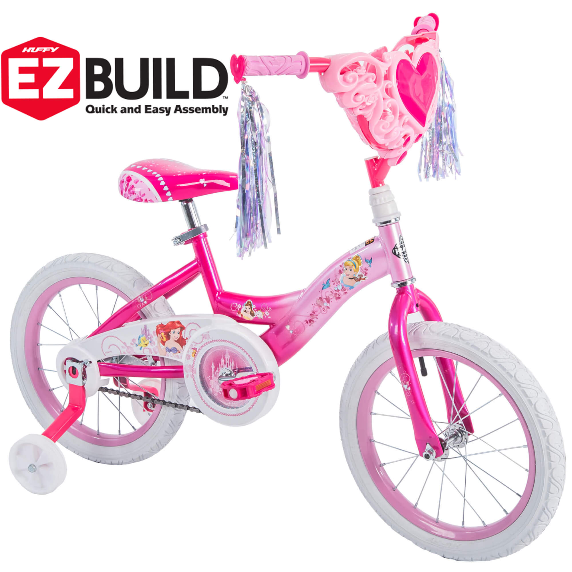"Disney Princess 16"" Girls' EZ Build Pink Bike, by Huffy"
