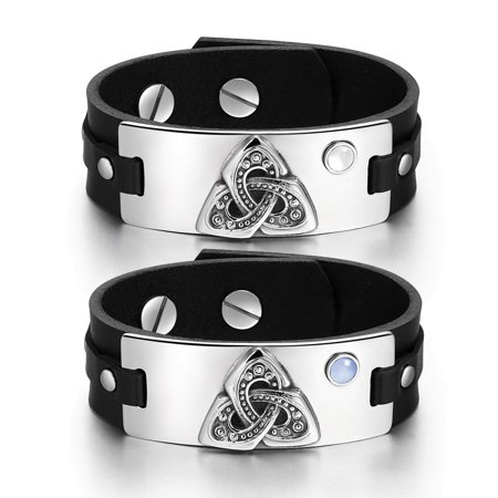 White Knotted Leather - Celtic Triquetra Knot Amulets Love Couples White Sky Blue Simulated Cats Eye Black Leather Tag Bracelets
