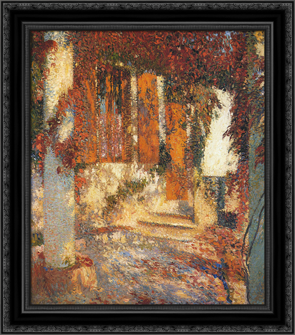 At the Pergola 20x20 Black Ornate Wood Framed Canvas Art by Martin, Henri by FrameToWall
