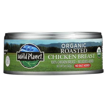 Wild Planet Organic Roasted Chicken Breast - No Salt Added - Case of 12 - 5 oz. Organic Chicken Breasts