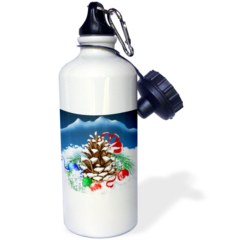 3dRose A festive Christmas Pinecone with ornaments and pretty ribbon in the Winter snow, Sports Water Bottle, 21oz by Supplier Generic