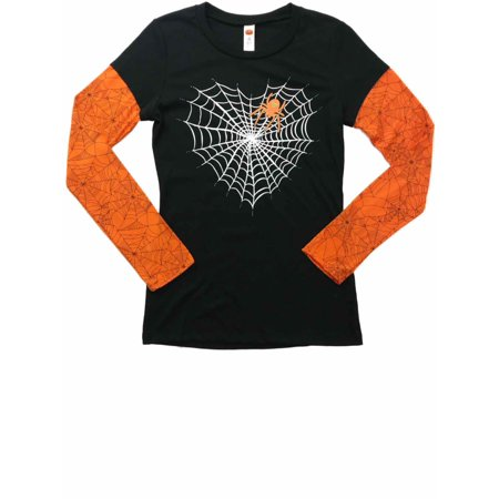 Womens Sparkly Spider & Web Heart Long Sleeve Tee Shirt Halloween T-Shirt - Sparkly Halloween Shirts