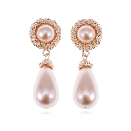 Golden Tone Rose Faux Pearl Antique Princess Teardrop Dangle Earrings ()