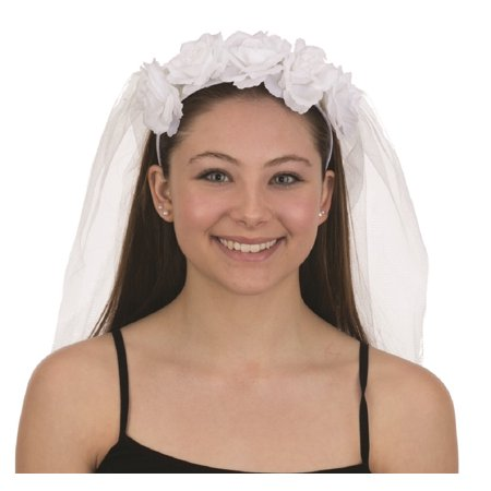 White Flower Rose Bride Headband Lace Veil Wedding One Size Costume - Lace Headbands For Adults