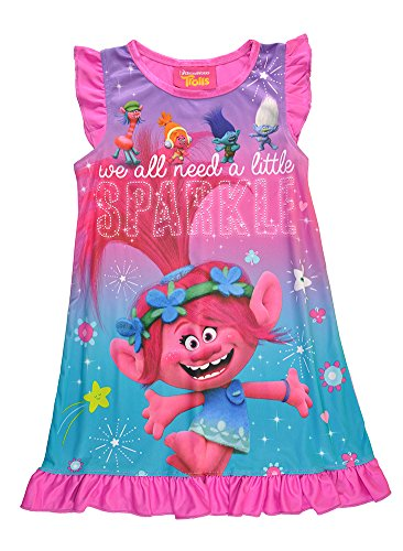 Trolls Little Girls Toddler Charcter Print Berry Pink Pajama Nightgown (2T)