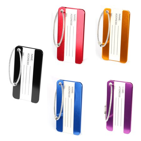 Aluminium Metal Travel Luggage Tags Card Holder Suitcase Baggage Name Address ID Bag Label Assorted Color 5pcs