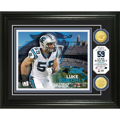 NFL Framed Wall Art by The Highland Mint, Luke Keuchly - with Bronze Coins