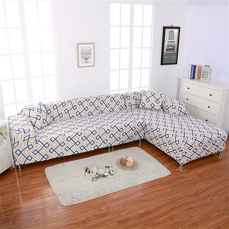 - Universal Sofa Covers for L Shape, 2pcs Polyester Fabric Stretch Slipcovers + 2pcs Pillow Covers for Sectional sofa L-shape Couch