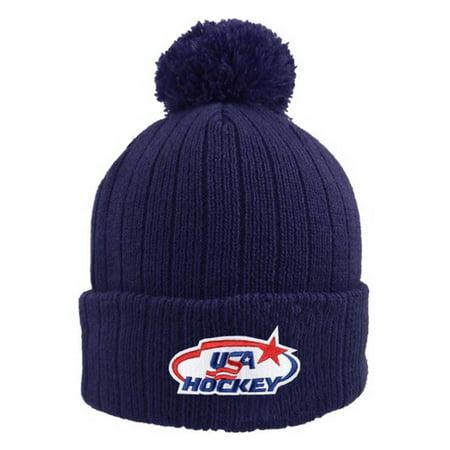 USA Hockey Beanie Cap Stocking Knit Hat Winter Sports Ski Tubing w  Pom  Navy - Walmart.com 59f0979b2de