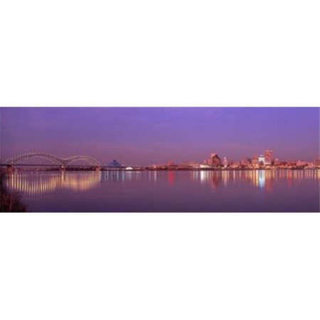 Panoramic Images PPI24806L Night Memphis TN Poster Print by Panoramic Images - 36 x 12 - Costumes Memphis Tn