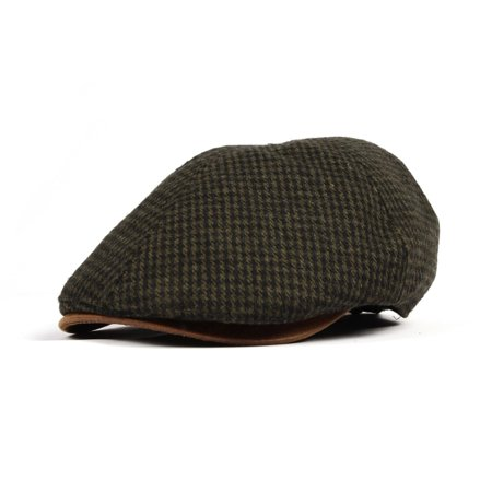 WITHMOONS Tweed Newsboy Hat faux leather brim Flat Cap SL3019 (Green)