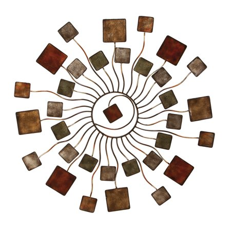 Abstract Metal Wall - Decmode Contemporary 32 Inch Abstract Metal Sunburst Wall Decor