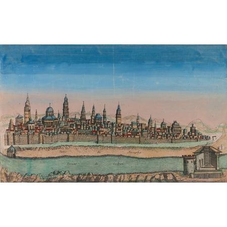 Antique Map of Jerusalem - Color Poster Print