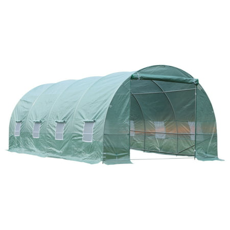 Outsunny 20â x 10â x 7â Freestanding High Tunnel Walk-In Garden Greenhouse Kit - Green