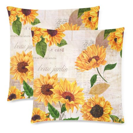 YKCG 2 Pack Watercolor Floral Summer Sunflower Pillowcase Protector 18x18 Twin Sides, Vibrant Yellow Flower Vintage Cotton Zippered Throw Cushion Pillow Case Cover Shams Decorative ()