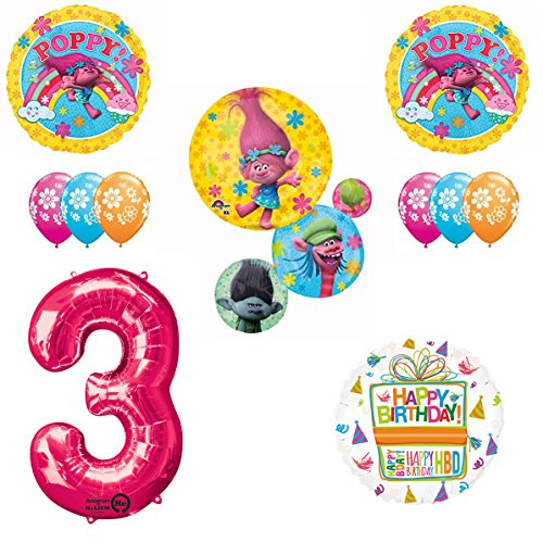 TROLLS Movie 3rd Happy Birthday Party Balloons Supplies Poppy Branch Movie