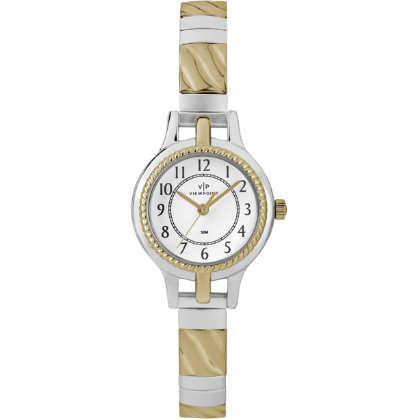 Viewpoint by Timex Women's 24mm White Dial Watch, Two-Tone Expansion Band
