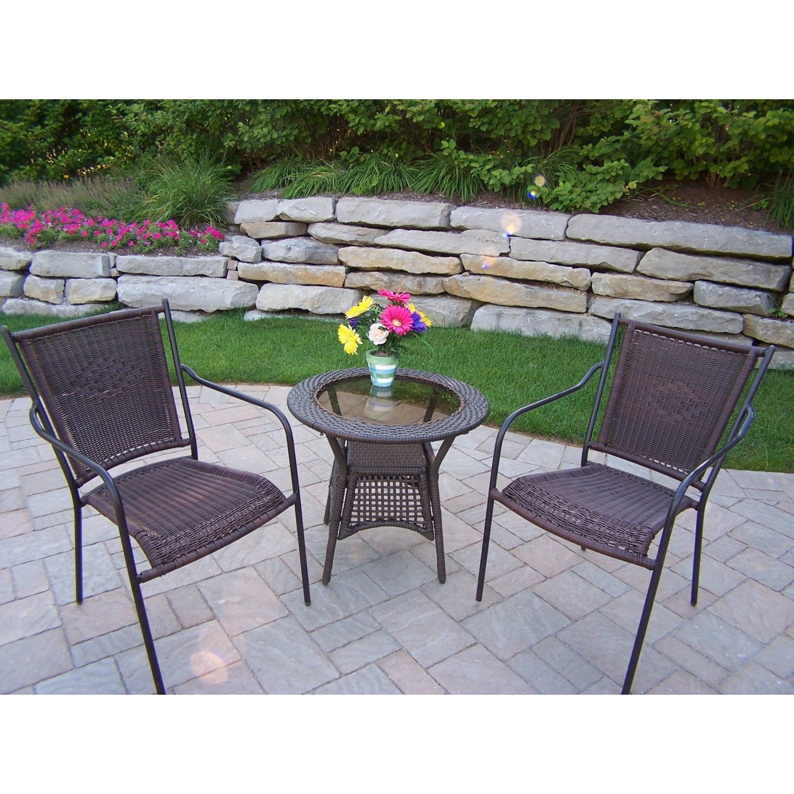 Oakland Living All-Weather Wicker Straight Back Patio Bistro Set