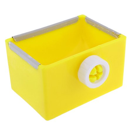 Rectangular Food Water Feeder Fixed Bowl Dish Yellow For Cage Pet Cat Puppy