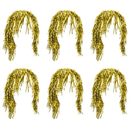 Tinsel Wigs - Gold, Pack of 6](Tinsel Wigs)
