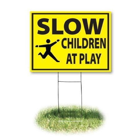 Headline Sign 4731 Yard Sign, Slow/Children At Play, 18 Inches by 24 Inches (Halloween Yard Signs Art)
