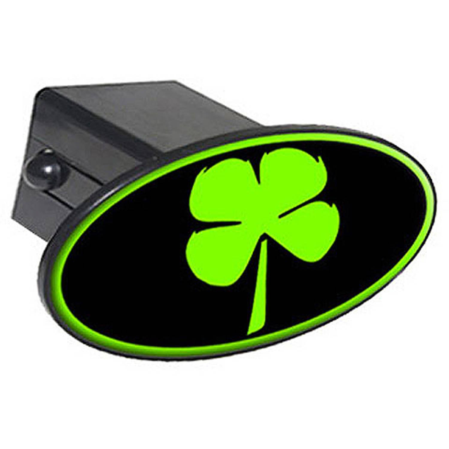 """Four Leaf Clover - Irish Luck 2"""" Oval Tow Trailer Hitch Cover Plug Insert"""