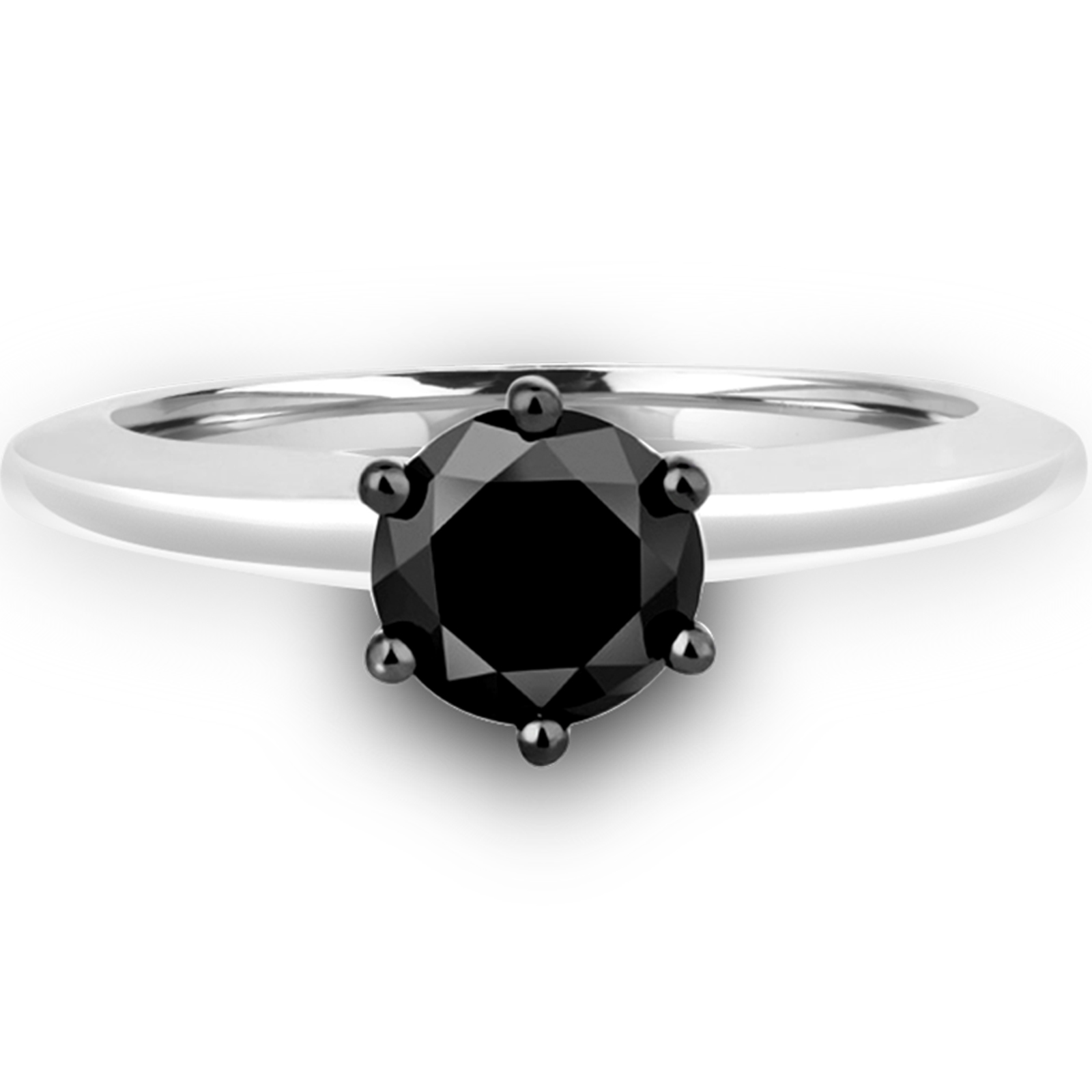 4/5 CT Round Black Diamond Solitaire Engagement Ring in 10K White Gold (MDR130024) - image 1 de 2