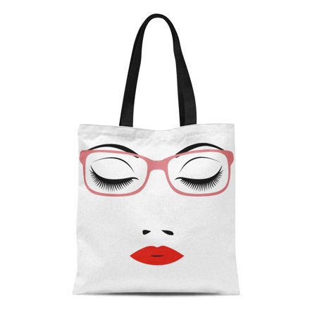 ASHLEIGH Canvas Tote Bag Red Abstract Woman Beautiful Closed Eyes Glasses Beauty Black Reusable Shoulder Grocery Shopping Bags Handbag Beautiful Black Glass