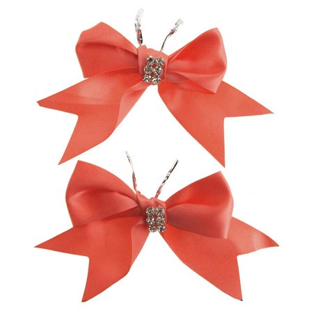 Pre-Tied Satin Bows with Rhinestone, 4-Inch, 2-Piece, Coral
