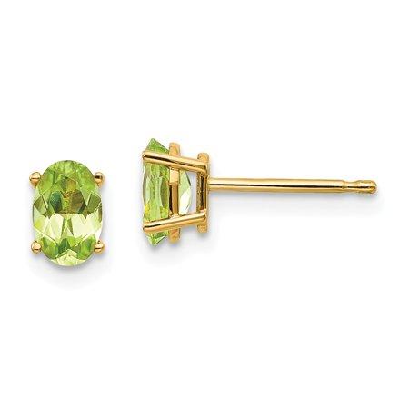 Roy Rose Jewelry 14K Yellow Gold 6x4 Oval August Peridot Post Earrings 0.9-Carat