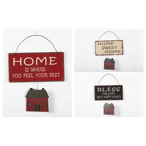 Attraction Design Home 3 Piece Metal Sign with House Wall D cor Set